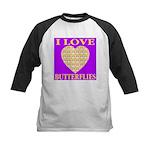 I Love Butterflies Heart Purp Kids Baseball Jersey
