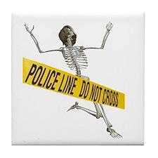 Crime Scene Skeleton Tile Coaster