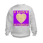 I Love Butterflies Heart Purp Kids Sweatshirt