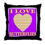 I Love Butterflies Heart Purp Throw Pillow