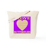 I Love Butterflies Heart Purp Tote Bag