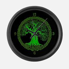 Green Celtic Wisdom Tree Large Wall Clock