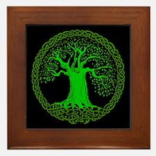 Green Celtic Wisdom Tree Framed Tile