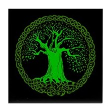 Green Celtic Wisdom Tree Tile Coaster
