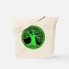 Green Celtic Wisdom Tree Tote Bag