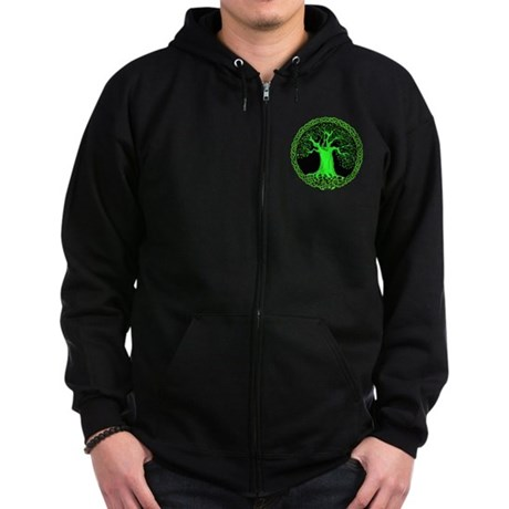 Green Celtic Wisdom Tree Zip Hoodie (dark)
