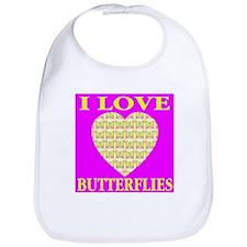 I Love Butterflies Heart Sinf Bib