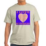 I Love Butterflies Heart Flor Ash Grey T-Shirt