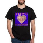 I Love Butterflies Heart Flor Black T-Shirt