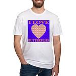 I Love Butterflies Heart Flor Fitted T-Shirt