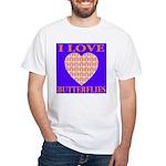 I Love Butterflies Heart Flor White T-Shirt