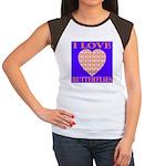 I Love Butterflies Heart Flor Women's Cap Sleeve T