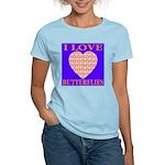 I Love Butterflies Heart Flor Women's Pink T-Shirt