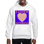 I Love Butterflies Heart Flor Hooded Sweatshirt