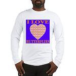 I Love Butterflies Heart Flor Long Sleeve T-Shirt