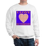 I Love Butterflies Heart Flor Sweatshirt