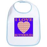I Love Butterflies Heart Flor Bib