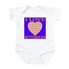 I Love Butterflies Heart Flor Infant Creeper
