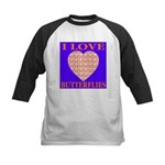 I Love Butterflies Heart Flor Kids Baseball Jersey