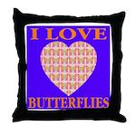 I Love Butterflies Heart Flor Throw Pillow