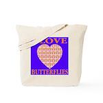 I Love Butterflies Heart Flor Tote Bag
