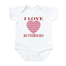 I Love Butterflies Pink Heart Infant Creeper