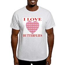 I Love Butterflies Pink Heart Ash Grey T-Shirt