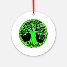 Green Celtic Wisdom Tree Ornament (Round)