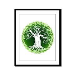 Green2 Celtic Tree Framed Panel Print