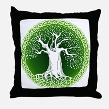 Green2 Celtic Tree Throw Pillow