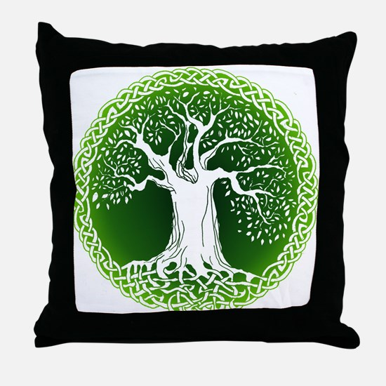 Green2 Celtic Tree Throw Pillow