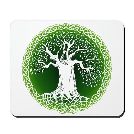 Faded Green Celtic Wisdom Tree Mousepad