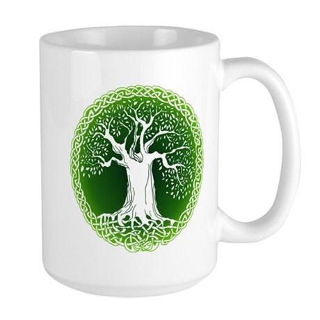 Green2 Celtic Tree Large Mug