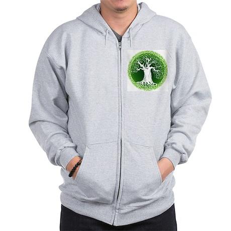 Faded Green Celtic Wisdom Tree Zip Hoodie
