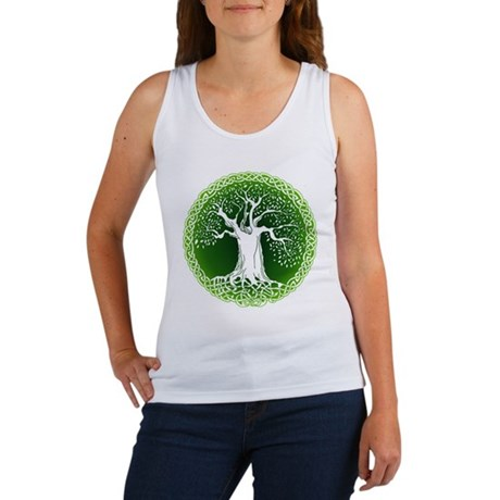 Green2 Celtic Tree Women's Tank Top