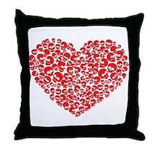 Heart of Skulls Throw Pillow