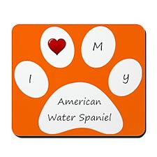 Orange I Love My American Water Spaniel Mouse Pad