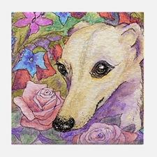 Shy flower Tile Coaster