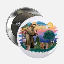 """St Francis / 2 Yorkshire Terriers 2.25"""" Button"""