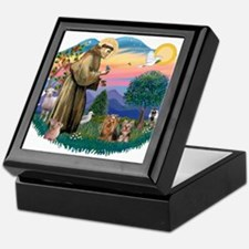 St Francis / 2 Yorkshire Terriers Keepsake Box