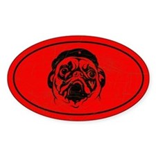 PUG icon Vintage Oval Decal