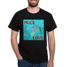 Peace & Love Butterflies Skyb Black T-Shirt