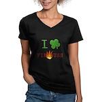 I Love Firebush Women's V-Neck Dark T-Shirt