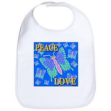Peace & Love Butterflies Blue Bib