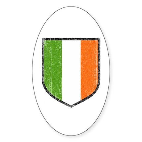 Irish Flag Crest Oval Sticker