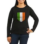 Irish Flag Crest Women's Long Sleeve Dark T-Shirt