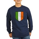 Irish Flag Crest Long Sleeve Dark T-Shirt