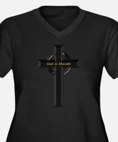 God is Humble Women's Plus Size V-Neck Dark T-Shir