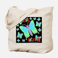 Peace & Love Neon Swallowtail Tote Bag