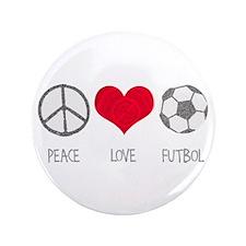 "Peace Love Futbol 3.5"" Button"